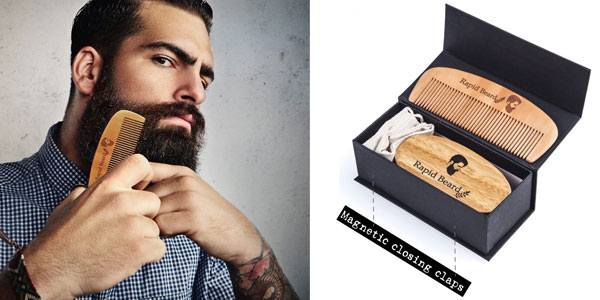 Kit Cuidado de barba Rapid Beard con cepillo y peine chollo en Amazon