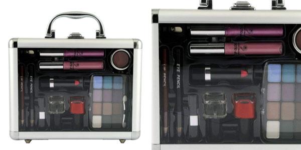 Maleta de maquillaje Gloss! GM-10708 de 23 piezas en color gris chollo en Amazon