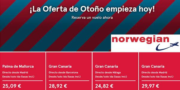 Norwegian ofertas de otoño con vuelos baratos septiembre 2018