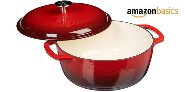 Olla Cocotte AmazonBasics de hierro fundido esmaltado 7,05L barata en Amazon