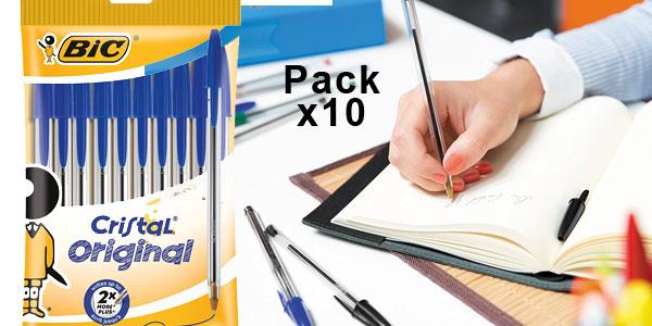 Pack 10 Bolígrafos BIC Cristal Original color azul barato en Amazon