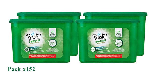 Pack Detergente en cápsulas Amazon Presto! Universal Multiusos de 152 lavados chollazo en Amazon