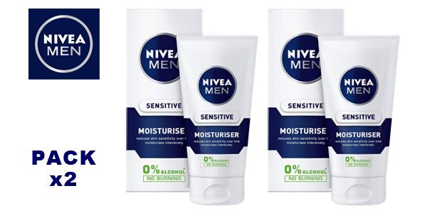 Pack de 2 cremas hidratantes faciales Nivea Men Sensitive Moisturiser barato en Amazon