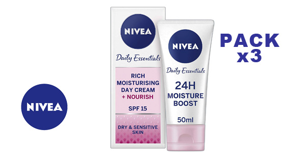Pack de 3 Crema de día hidratante Nivea visage x 50 ml/ud barato en Amazon