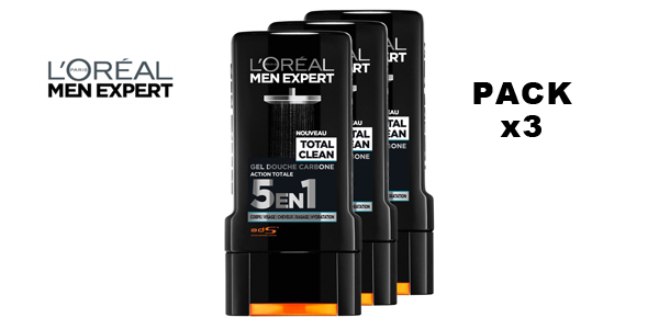 Pack x3 L'Oréal Men Expert Total Clean Gel de Ducha 5 en 1 Men barato en Amazon