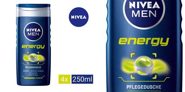 Pack x4 Gel de ducha Nivea Men Energy x250 ml chollo Amazon