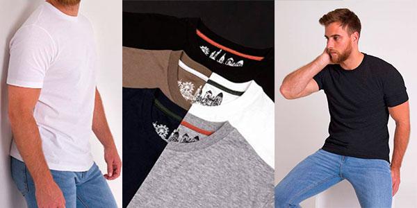 Pack de 5 camisetas de manga corta de algodón para hombre barato