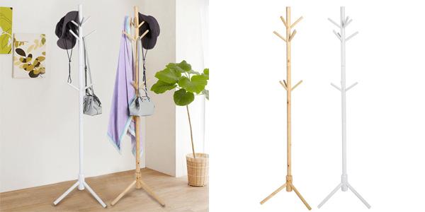 Perchero de pie 9 colgadores de madera en 2 colores barato en eBay