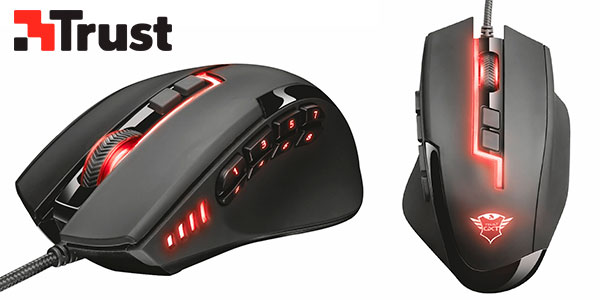Ratón gaming Trust GXT 164 Sikanda con 12 botones programables barato