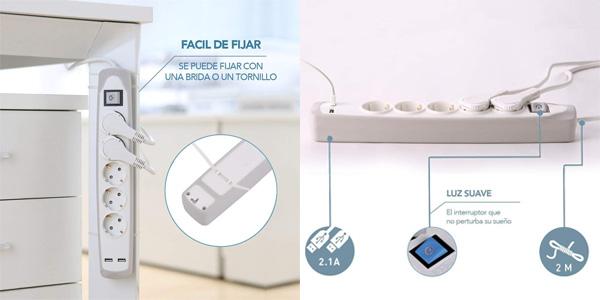 Regleta Electraline Gummy 62153 con 3 enchufes 2 USB y recubrimiento de silicona chollazo en Amazon