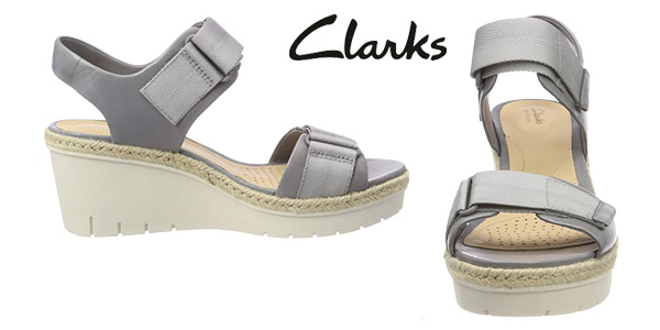 Sandalias Clarks Palm Shine en color gris para mujer chollazo en Amazon