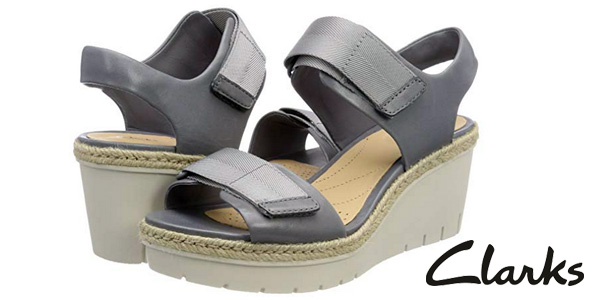 Sandalias Clarks Palm Shine en color gris para mujer baratas en Amazon