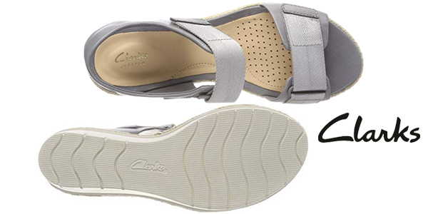 Sandalias Clarks Palm Shine en color gris para mujer chollo en Amazon