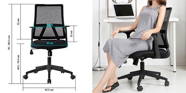 Chollo Silla de oficina Langria giratoria y reclinable con ruedas