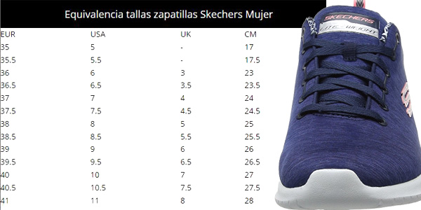 Guía de Tallas Zapatillas deportivas Skechers Ultra Flex-First Choice en color azul para mujer chollo en Amazon