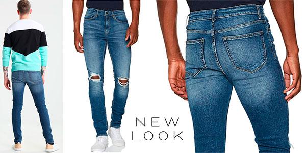 Vaqueros pitillo New Look Busted Knee de color azul para hombre baratos