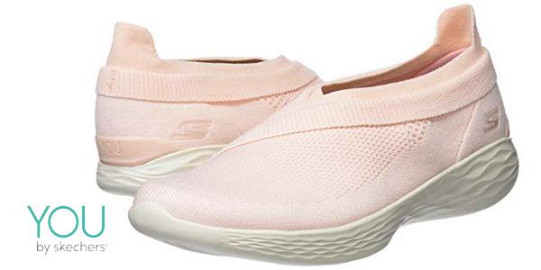 Zapatillas sin cordones Skechers You Luxe Rosa para mujer baratas en Amazon