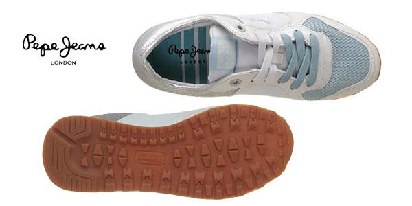 Zapatillas deportivas Pepe Jeans Verona W Sequins Silver para mujer chollo en Amazon