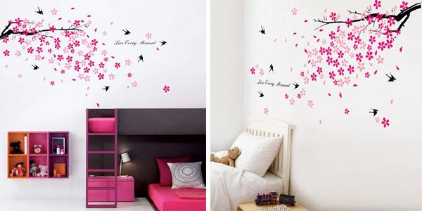 Adhesivo decorativo para la pared Walplus con diseño de árbol en flor y golondrinas barato en Amazon
