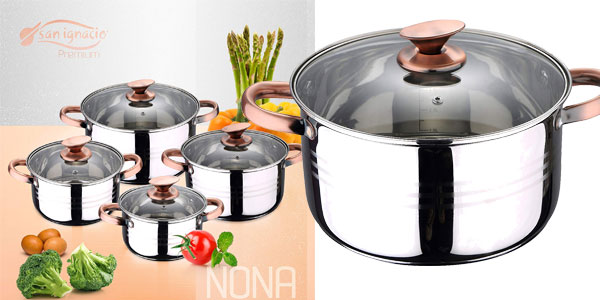 Batería de cocina 8 piezas San Ignacio Nona chollo en Amazon