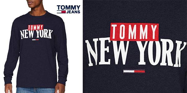 Camiseta Tommy Jeans TJM New York Long Sleeve tee de maga larga para hombre chollo en Amazon