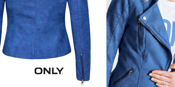 Chaqueta Biker Only AVA en color azul para mujer chollazo en Amazon