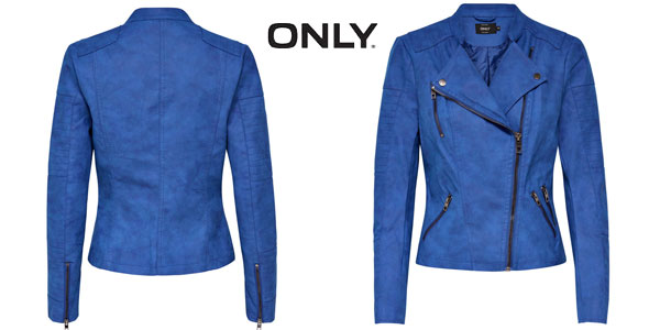 Chaqueta Biker Only AVA en color azul para mujer chollo en Amazon