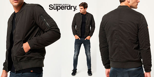 Chollo Cazadora bomber Superdry Rookie Winter Duty Bitter negra para hombre