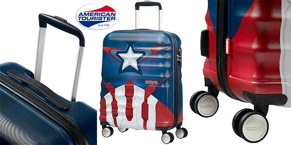 Chollo Maleta spinner American Tourister Capitán América de 36 litros