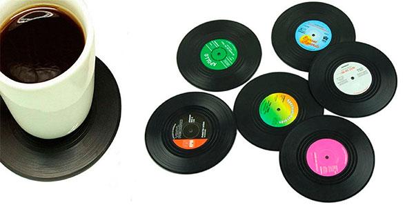 Chollo Set de 6 posavasos retro con forma de vinilo