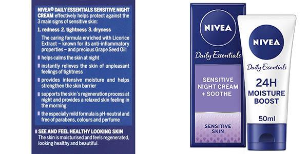 crema de noche para pieles sensibles Nivea Daily Essentials Pack ahorro 5ec5993a655a4