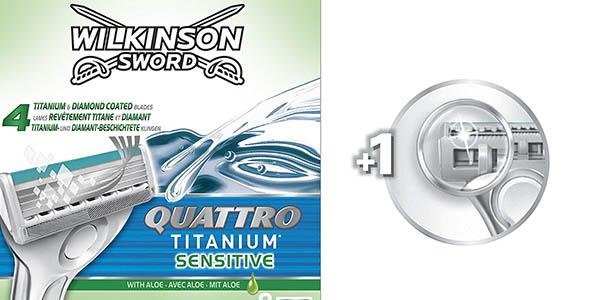 cuchillas recambio Wilkinson Sword Quattro Titanium Sensitive chollo