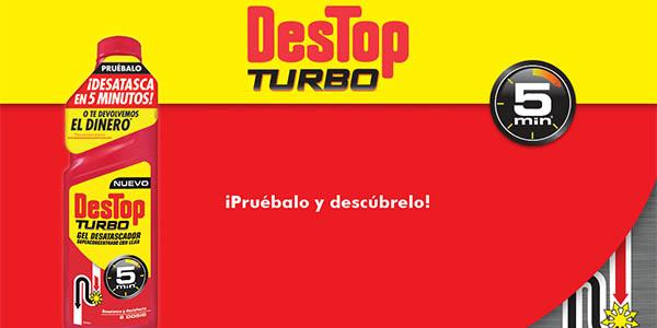 desatascador Destop Turbo gel con lejía rápido efecto chollo