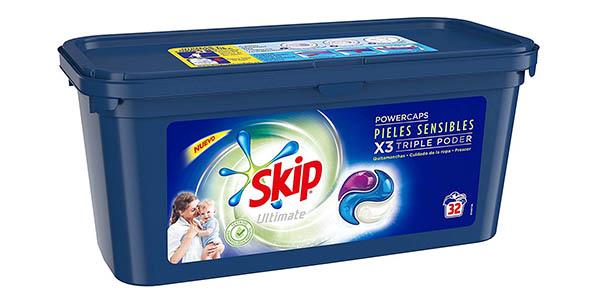 detergente en cápsulas Skip Ultimate Triple Poder pieles sensibles 32 lavados barato