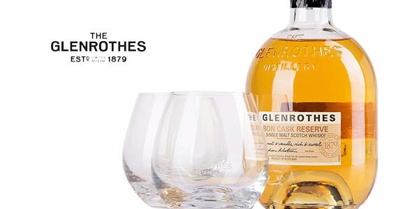Estuche Whisky Glenrothes 10 años + 2 vasos chollo en Amazon