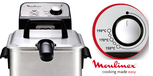 Freidora Moulinex Compact Pro AM322070 de acero inoxidable con termostato regulable chollo en Amazon