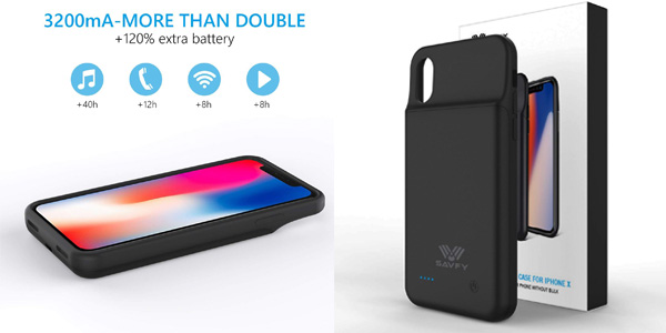 Funda SAVFY con batería integrada de 3200mAh para iPhone X barata en Amazon