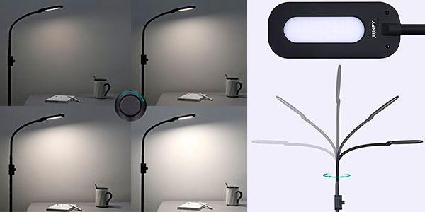 Lámpara de pie regulable Aukey LT-ST34 con control de brillo y cuello flexible barata