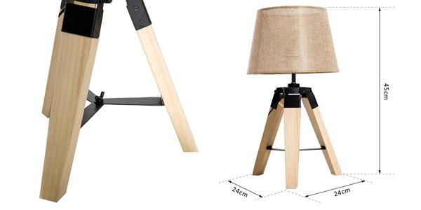 Lámpara de mesa moderna HomCom con pie trípode y casquillo E27 chollazo en eBay