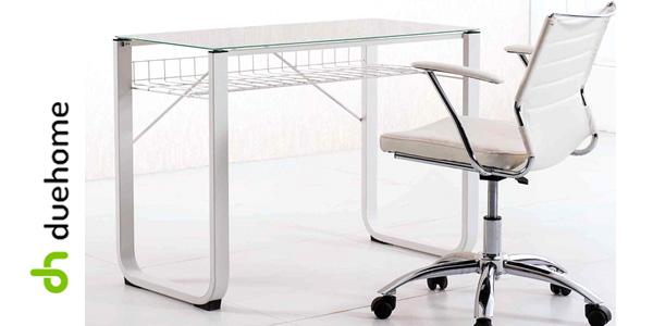 Mesa de escritorio Picture de DueHome con tablero de cristal templado chollo en eBay