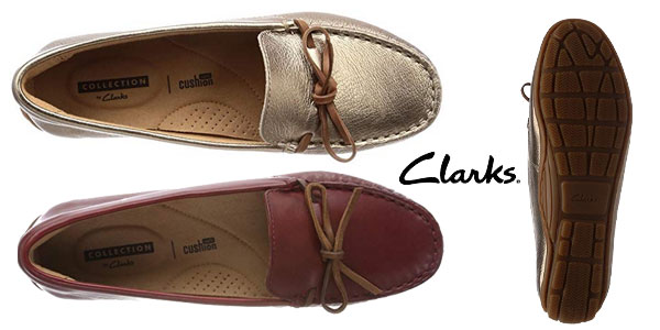 Mocasines de piel Clarks Dameo Swing en marrón dorado metalizado o rojo burdeos chollo en Amazon