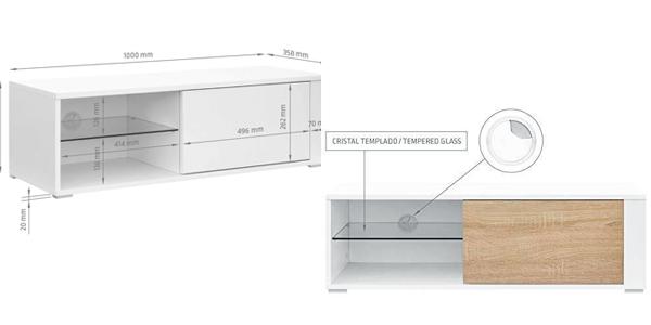 Mueble para TV Comifort TV80B disponible en blanco, roble o combinado chollo en Amazon
