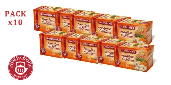 Pack x10 Pompadour Jengibre + Cúrcuma (10 cajas de 20 bolsitas) barato en Amazon