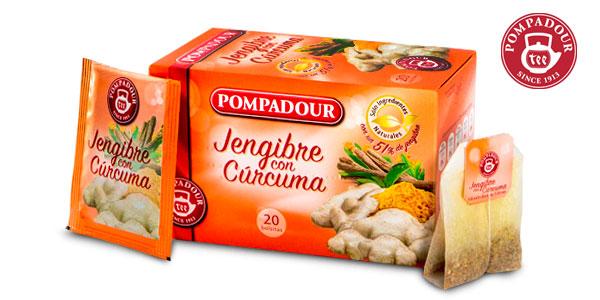 Pack x10 Pompadour Jengibre + Cúrcuma (10 cajas de 20 bolsitas) chollo en Amazon