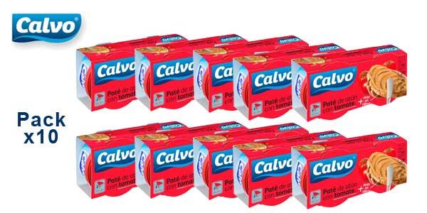 Pack x10 paquetes Calvo Pate de Atún con tomate barato en Amazon