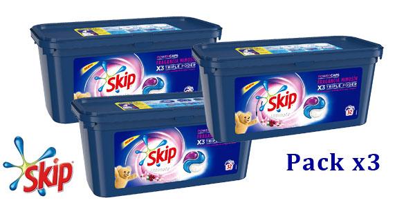 Pack x3 detergente en cápsulas Skip Ultimate Triple Poder Máxima Fragancia Mimosín 96 lavados barato en Amazon