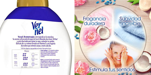 Pack x3 Suavizante Concentrado Vernel Aromaterapia Agua de Coco & Minerales chollo en Amazon