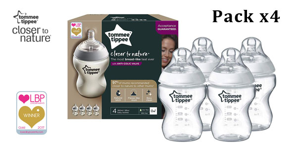 "Pack 4 biberones Tommee Tippee Closer to Nature 0m+ anticólicos"" baratos en Amazon"