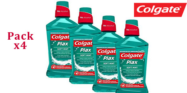Pack x4 Enjuague bucal Colgate plax suave verde menta chollazo en Amazon