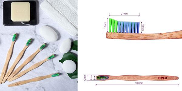 Pack de 5 cepillos de dientes de bambú ECOet chollazo en Amazon